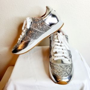 Kate Spade silver glitter tennis shoes size 10